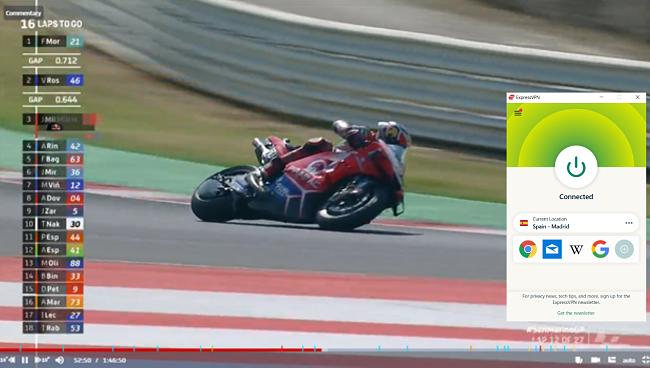 Screenshot of ExpressVPN unblocking a MotoGP race