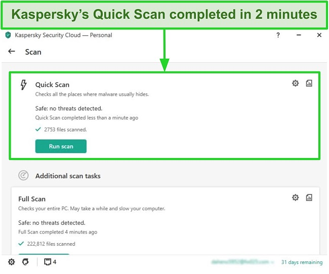 Screenshot of Kaspersky Antivirus desktop app's quick scan result screen.