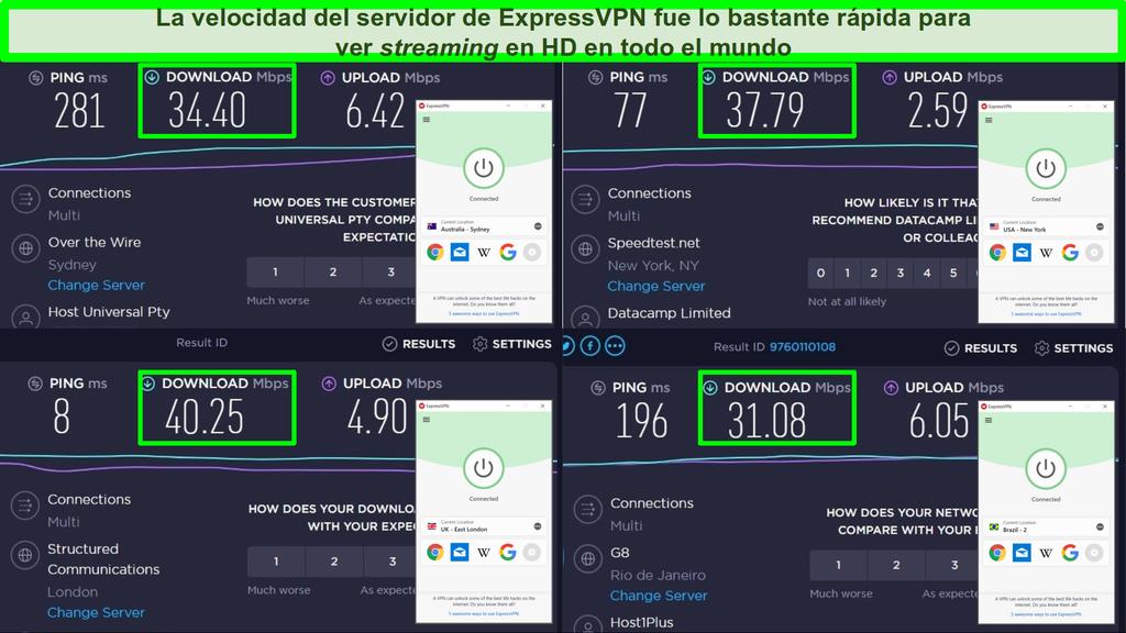 Capturas de pantalla de las pruebas de velocidad de Ookla y ExpressVPN conectados a servidores en Australia, Estados Unidos, Reino Unido y Brasil.