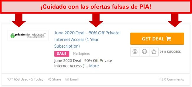 Captura de pantalla de un acuerdo falso de PIA que ofrece un 90% de descuento