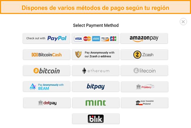 Captura de pantalla de los posibles métodos de pago al registrarse en PIA