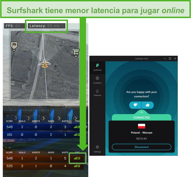 La captura de pantalla de Surfshark tiene la latencia más baja