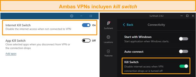 Captura de pantalla de los interruptores de interrupción integrados de NordVPN y Surfshark.