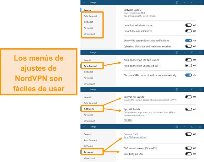 Captura de pantalla de los menús de escritorio de NordVPN.