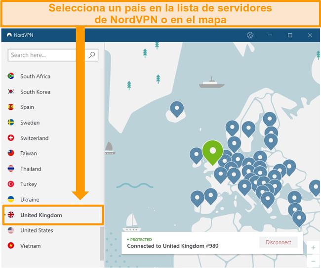 Captura de pantalla de NordVPN conectado a un servidor del Reino Unido.