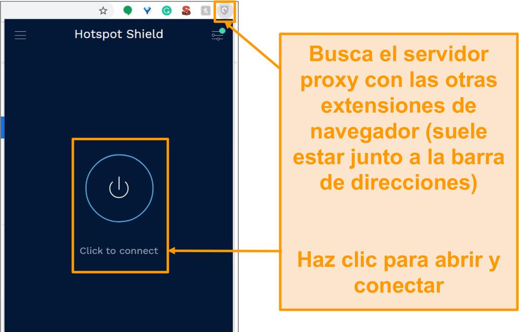 Captura de pantalla de la extensión del navegador proxy gratuito Hotspot Shield