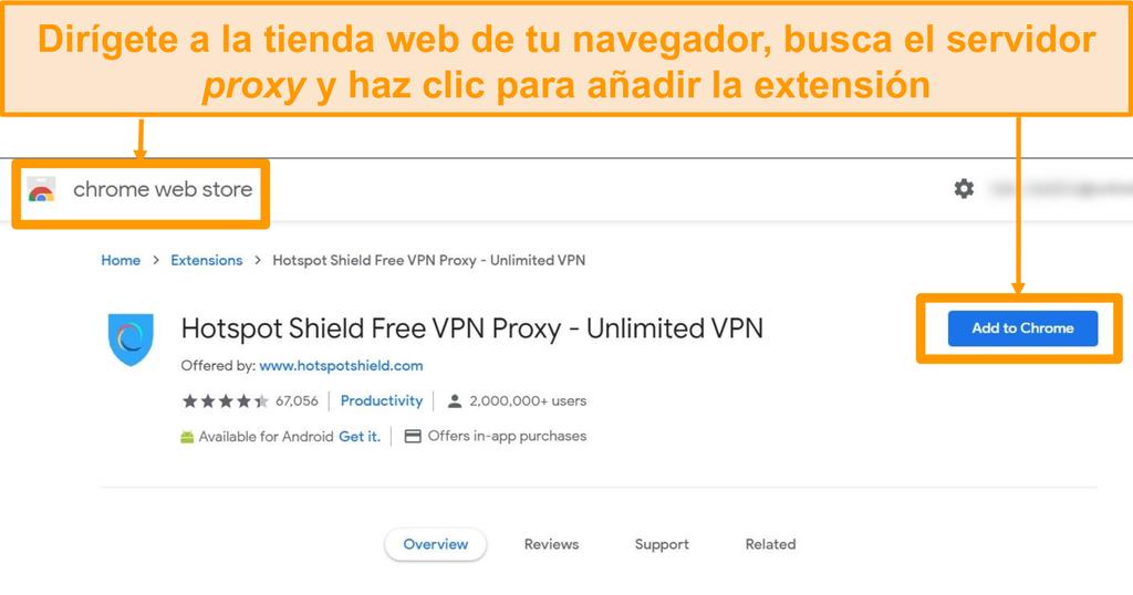 Captura de pantalla de la descarga gratuita de la extensión del navegador proxy Hotspot Shield