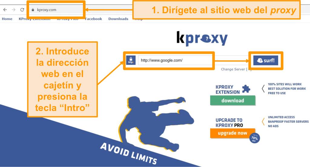 Captura de pantalla de la página de inicio de KProxy