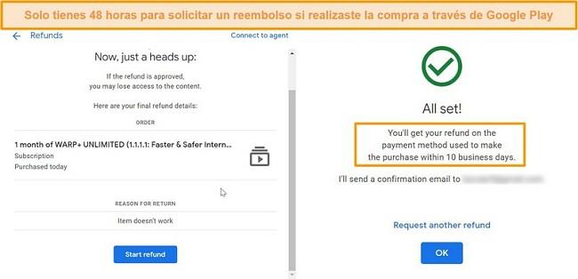 Capturas de pantalla del proceso de reembolso de WARP Google