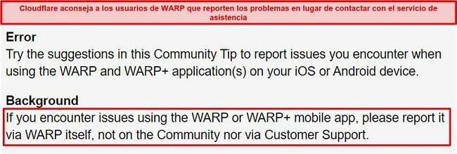 Captura de pantalla de la información de soporte al cliente WARP de Cloudflare, que informa a los usuarios que solo usen la aplicación para problemas de soporte.