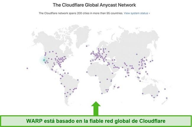 Captura de pantalla que muestra la red global de Cloudflare, la empresa matriz de Warp, y cómo aumenta la velocidad de WARP