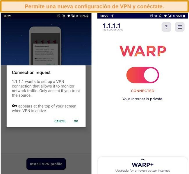 Captura de pantalla de las configuraciones de WARP VPN para configurar en un iPhone