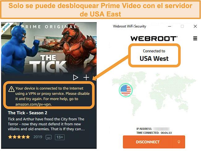 Captura de pantalla del error de proxy de Amazon Prime Video mientras estaba conectado al servidor USA West de Webroot WiFi Security