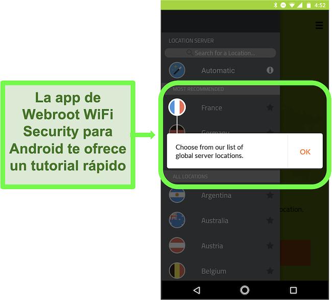 Captura de pantalla de la aplicación de Android de Webroot WiFi Security que ofrece un tutorial al usuario