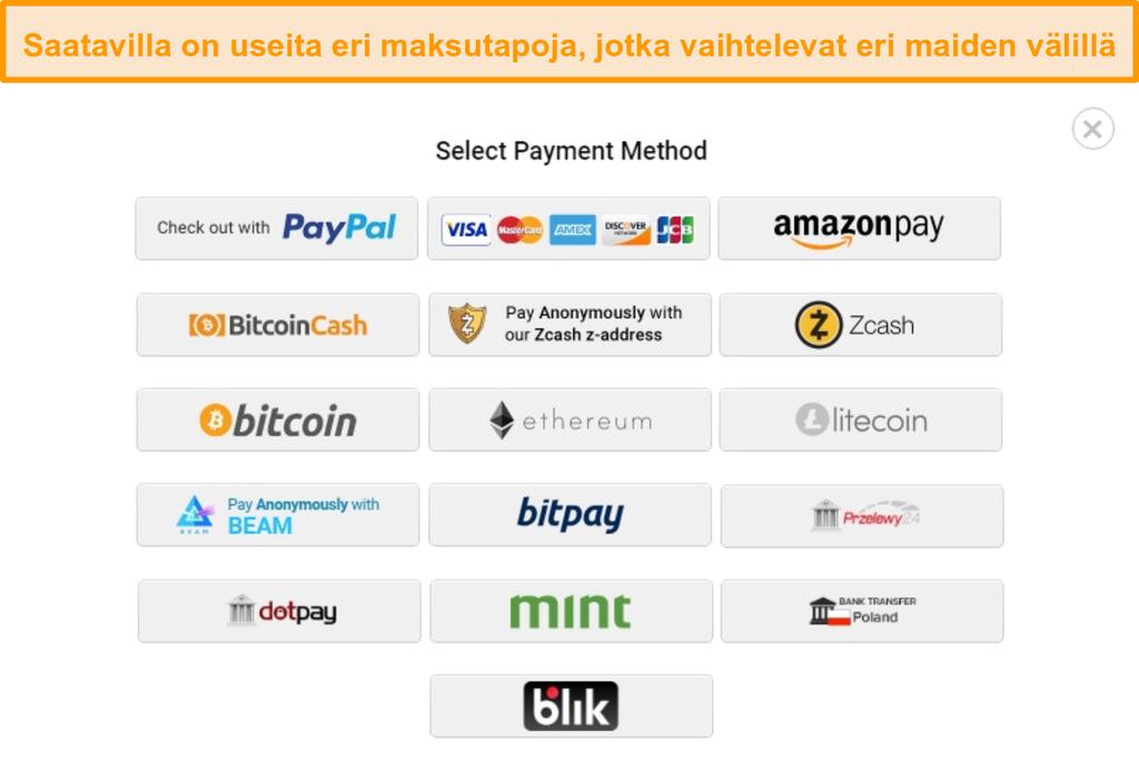Näyttökuva mahdollisista maksutavoista, kun rekisteröidyt Yksityiseen Internet-yhteys:iin