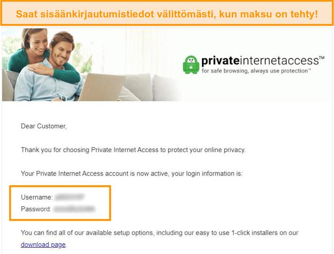Näyttökuva Private Internet Access -kirjautumisvahvistussähköpostista, jossa kirjautumistiedot sisältyvät