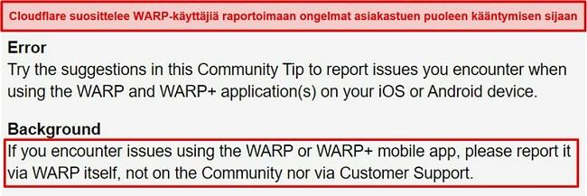 Näyttökuva Cloudflaren WARP-asiakastukitiedoista, joissa käyttäjille ilmoitetaan käyttävän sovellusta vain tukikysymyksiin.