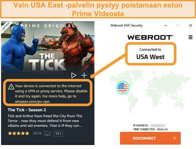 Näyttökuva Amazon Prime Videon välityspalvelinvirheestä, kun se on yhdistetty Webroot WiFi Securityn USA West -palvelimeen