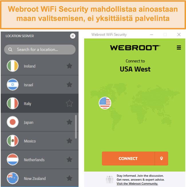 Näyttökuva Webroot WiFi Securityn palvelinverkkovalikosta