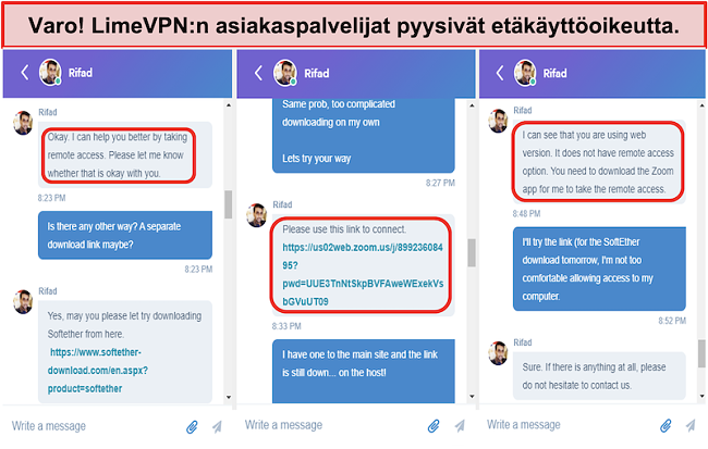 kuvakaappaus LimeVPN agents request remote access