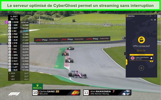 Capture d'écran de F1 diffusant en direct et CyberGhost connecté à un serveur britannique.