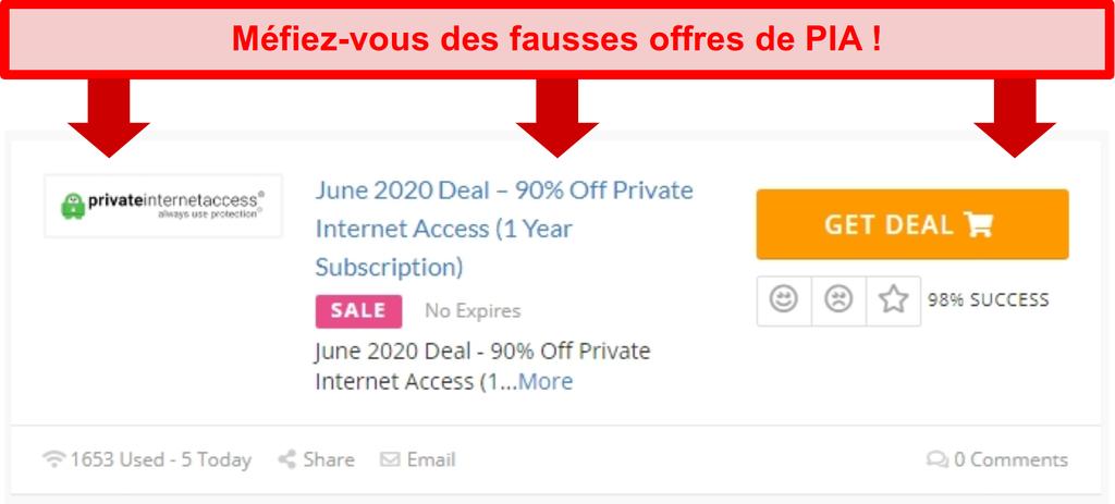 Capture d'écran d'une fausse offre d'accès internet privé offrant 90% de rabais