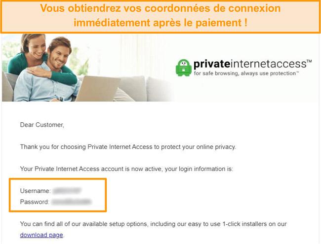 Capture d'écran de l'e-mail de confirmation d'inscription à l'accès Internet privé avec les détails de connexion inclus