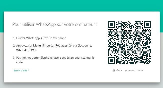 Code QR WhatsApp pour Windows