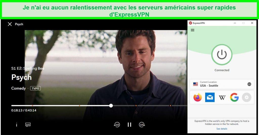Capture d'écran de Psych jouant sur Peacock tout en étant connecté au serveur USA Seattle d'ExpressVPN