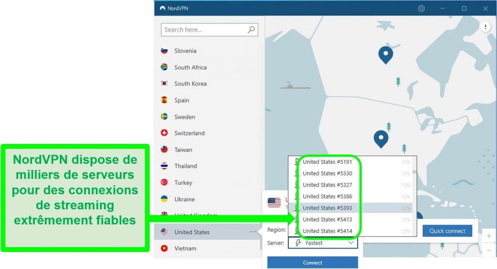 Capture d'écran de la liste déroulante des serveurs américains de NordVPN