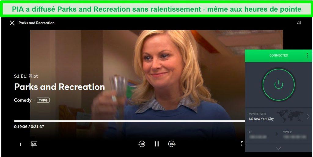 Capture d'écran de PIA débloquant Parks and Recreation on Peacock alors qu'il était connecté à un serveur de New York