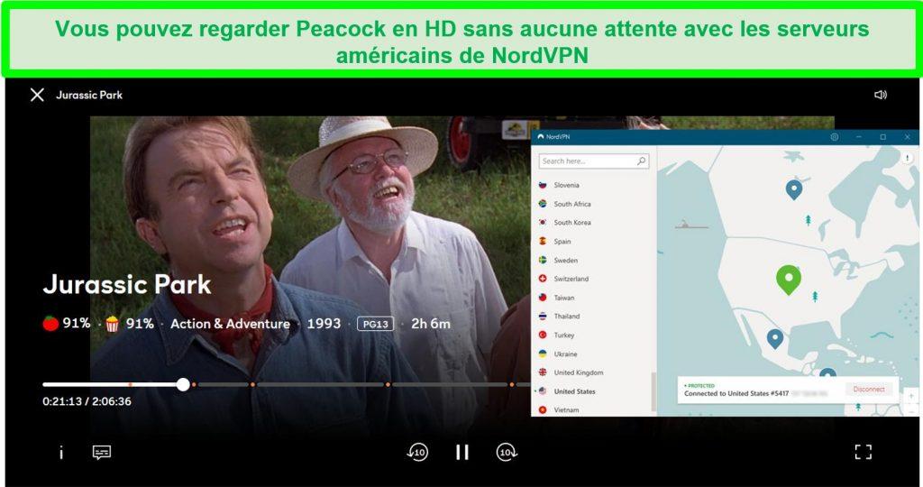 Capture d'écran de Jurassic Park jouant à Peacock tout en étant connecté au serveur US # 5417 de NordVPN