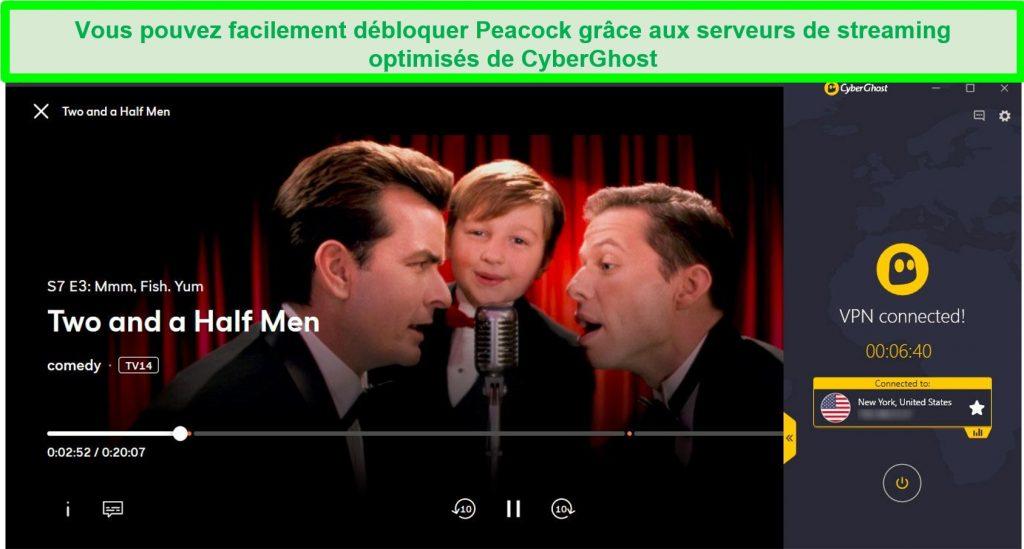 Capture d'écran de Deux hommes et demi en streaming sur Peacock à l'aide d'un serveur américain CyberGhost Netflix optimisé