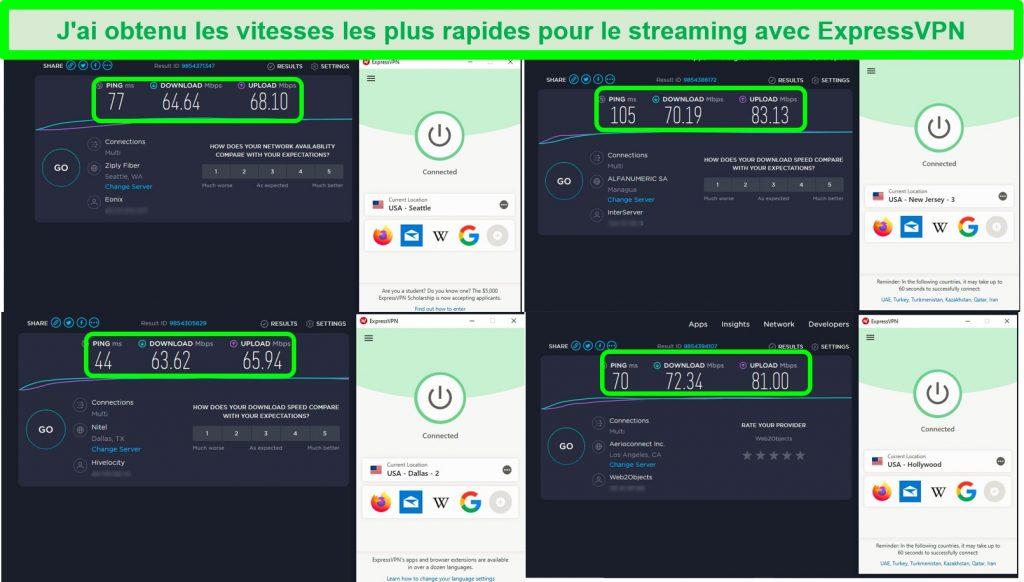 Capture d'écran des tests de vitesse après connexion à 4 serveurs ExpressVPN