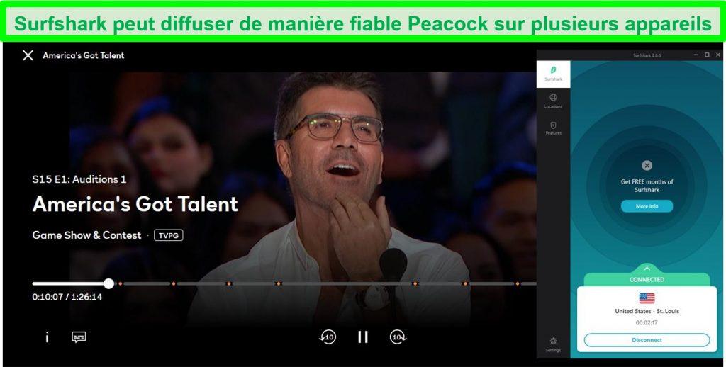 Capture d'écran de Peacock diffusant America's Got Talent tout en étant connecté à un serveur St.Louis