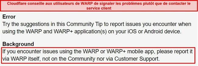Capture d'écran des informations de support client WARP de Cloudflare, informant les utilisateurs de n'utiliser l'application que pour les problèmes de support.