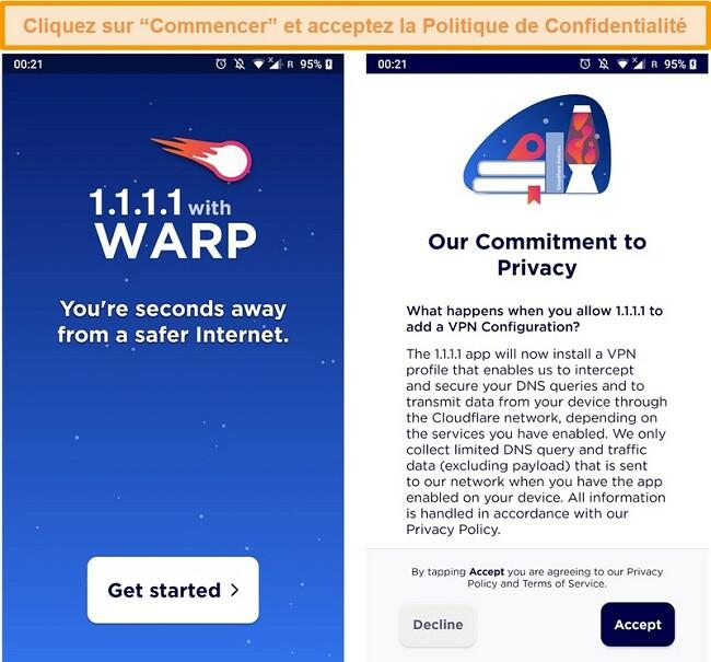 Capture d'écran montrant la configuration de WARP lors du lancement de l'application