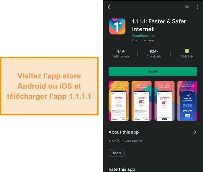 Capture d'écran du 1.1.1.1 de la boutique d'applications mobiles.