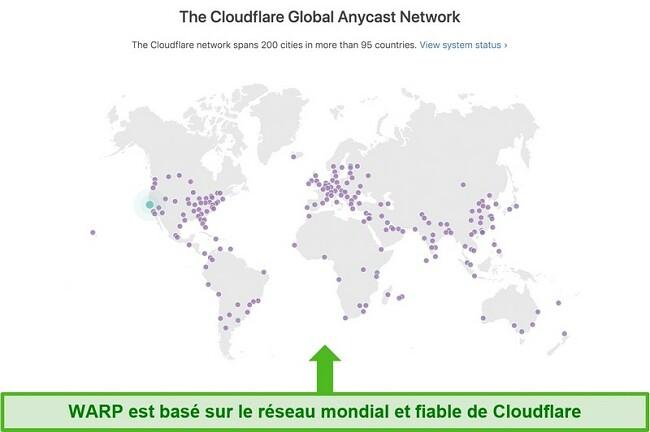 Capture d'écran montrant Cloudflare, la société mère de Warp, le réseau mondial et comment il augmente la vitesse de WARP