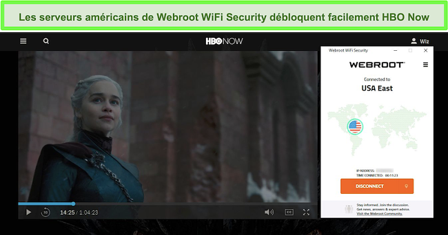 Capture d'écran de HBO en train de jouer à Game of Thrones alors qu'il est connecté à un serveur aux États-Unis