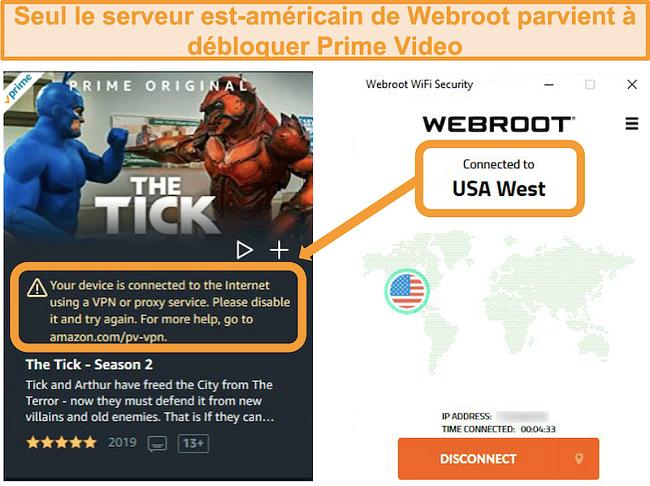 Capture d'écran de l'erreur de proxy d'Amazon Prime Video lors de la connexion au serveur USA West de Webroot WiFi Security