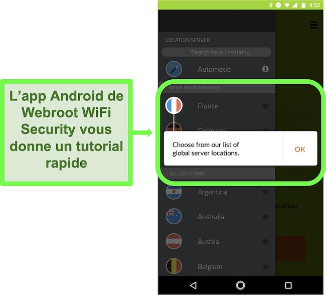 Capture d'écran de l'application Android de Webroot WiFi Security donnant un tutoriel utilisateur
