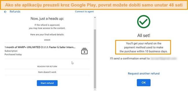 Snimke zaslona WARP-ovog postupka povrata Googlea