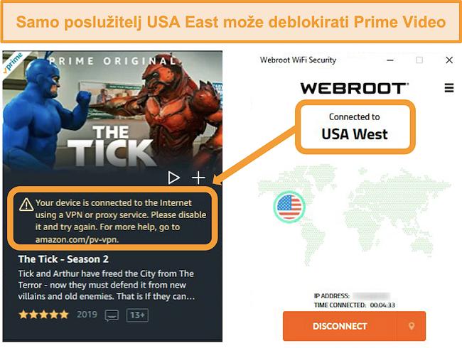 Snimka zaslona pogreške proxyja Amazon Prime Video dok je povezan s poslužiteljem USA West tvrtke Webroot WiFi Security
