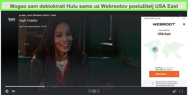 Hulu streaming High Fidelity dok je povezan s Webrootovim USA East serverom