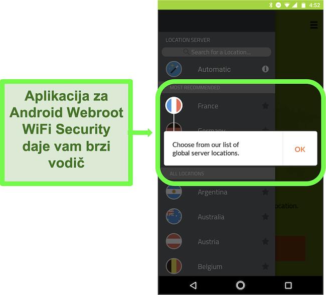 Snimka zaslona Android aplikacije Webroot WiFi Security koja daje upute za korisnike