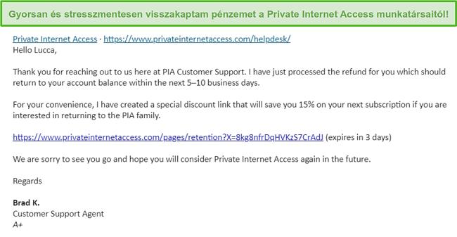Képernyőkép a PIA e-mailjéről, amelynek visszatérítési kérelmét a 30 napos pénzvisszafizetési garancia alapján hagyták jóvá