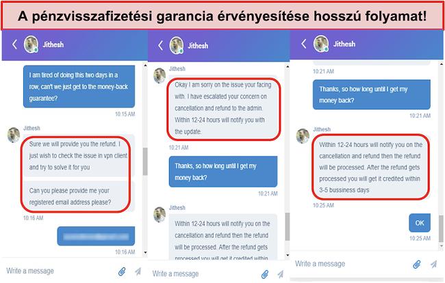 képernyőkép a claiming the money-back guarantee is a lengthy process