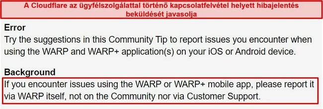 Pillanatkép a Cloudflare WARP ügyfélszolgálati információiról, amely arról tájékoztatja a felhasználókat, hogy az alkalmazást csak támogatási problémákra használják.