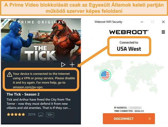 Pillanatkép az Amazon Prime Video proxy hibájáról, amikor csatlakozik a Webroot WiFi Security USA West szerveréhez